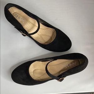 """Anna """"Yield-2"""" Black Suede Mary Jane Wedges Sz 8.5"""